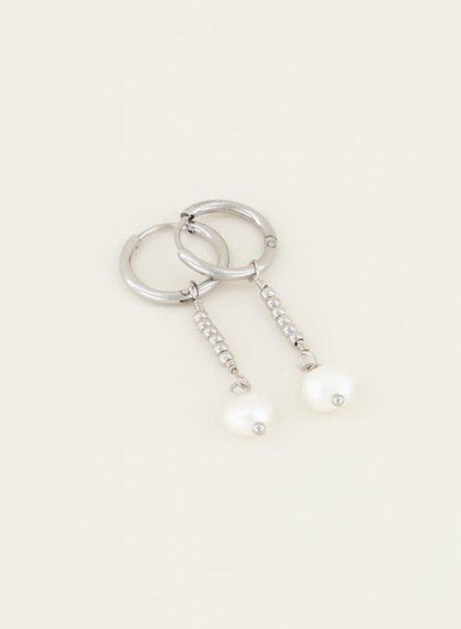 Parel oorbellen met hanger Zilver ONESIZE