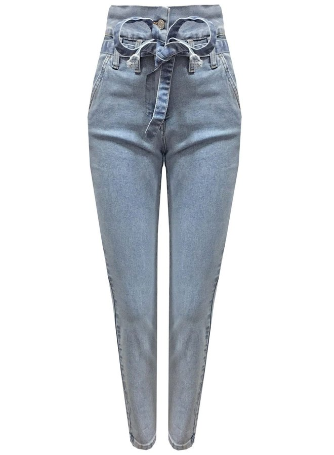 Paper Bag high waist chino jeans met stretch