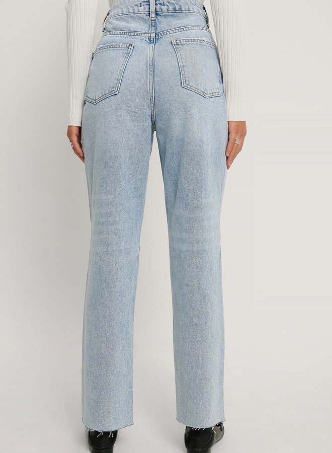 Small Ripped Details Straight High Waist Jeans