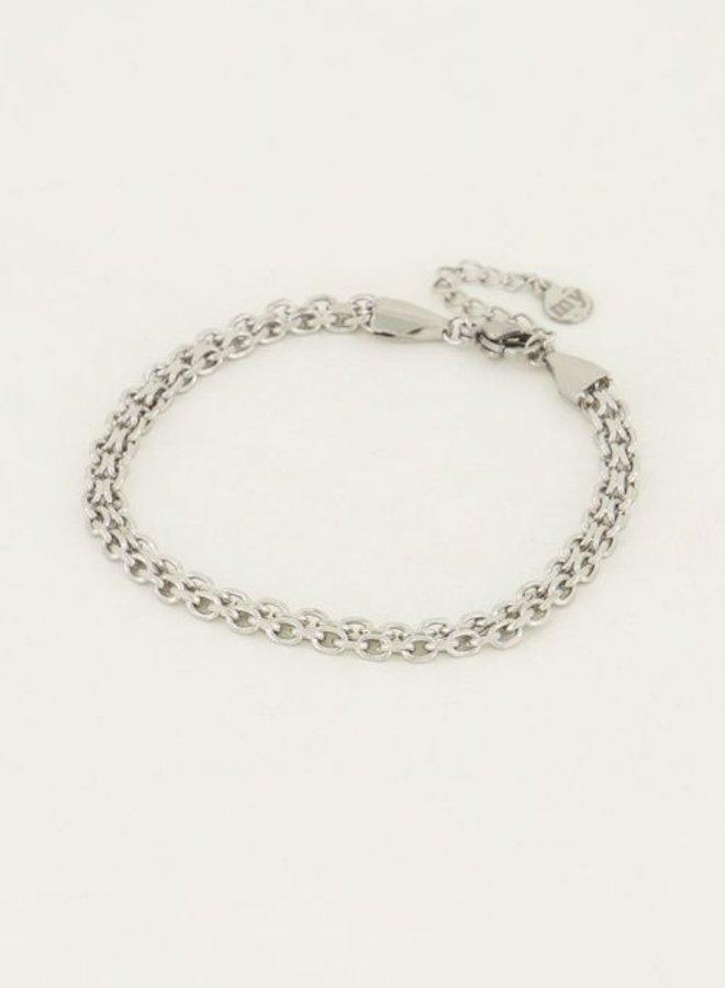 Armband schakel rond17+3 cm