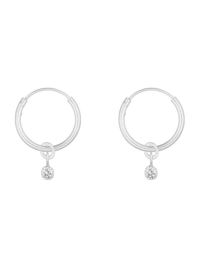 Oorbellen zilver – charmy white