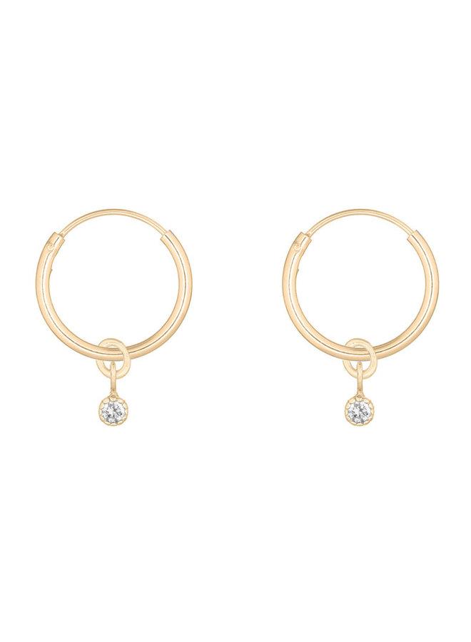 Oorbellen goud – charmy white