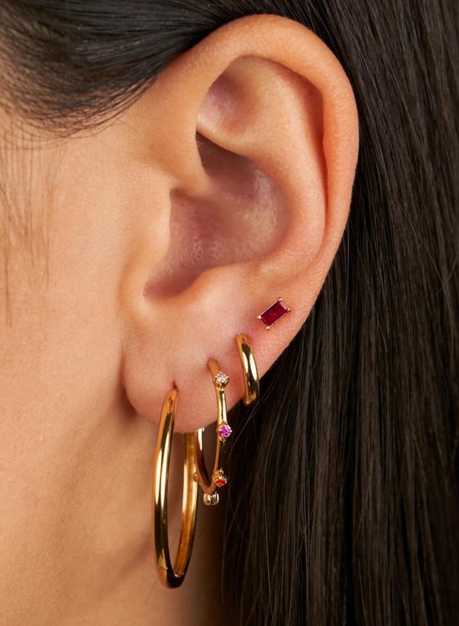 Ruby baguette earrings