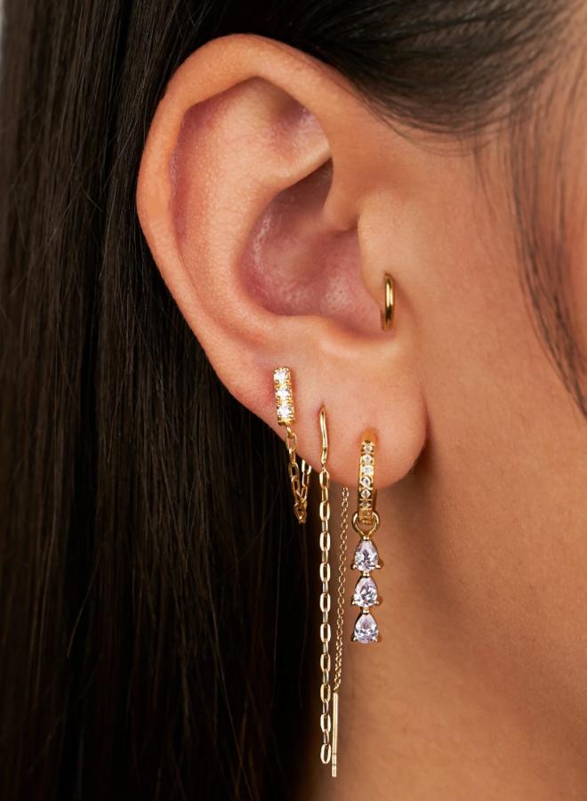 Zirconia chain earrings