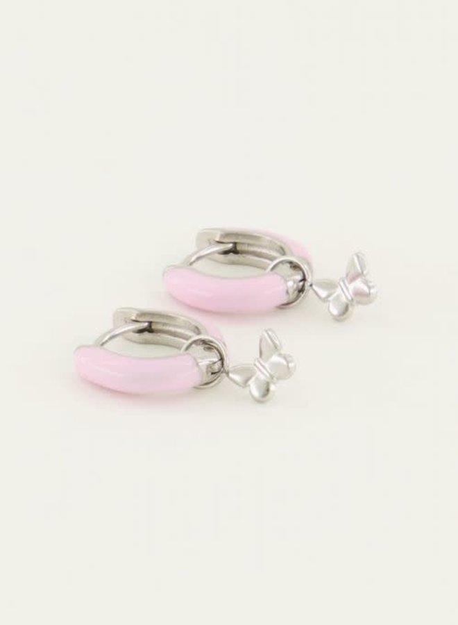 Oorringen roze vlinder