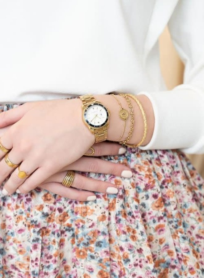 Horloge schakelband witte wijzerplaat