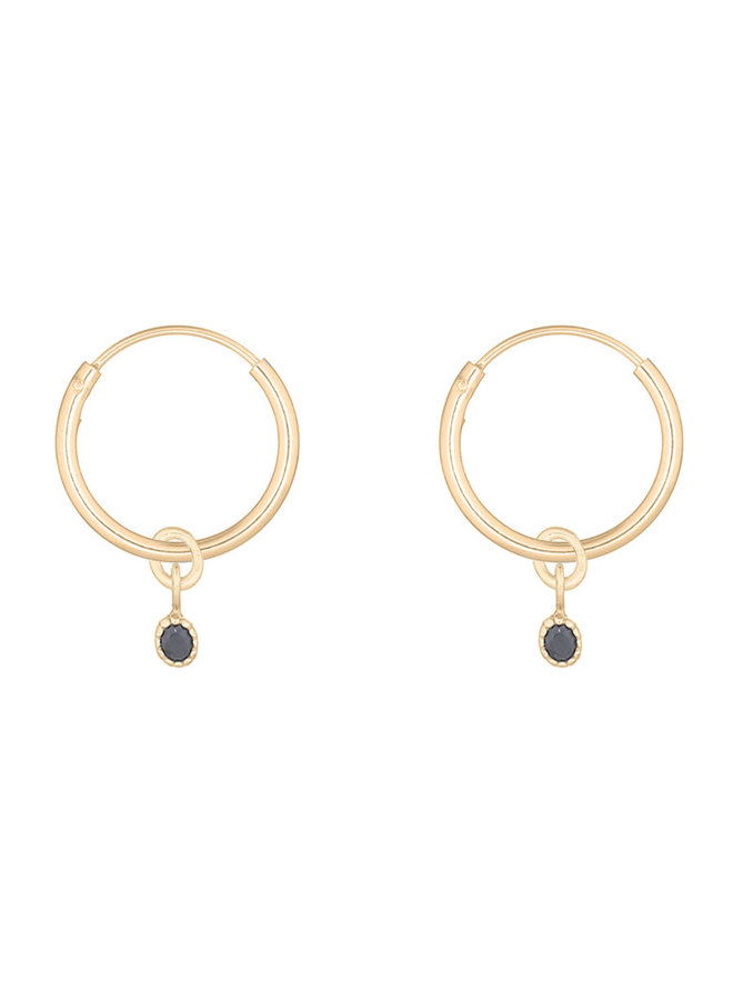Oorbellen goud – rounds charmy black