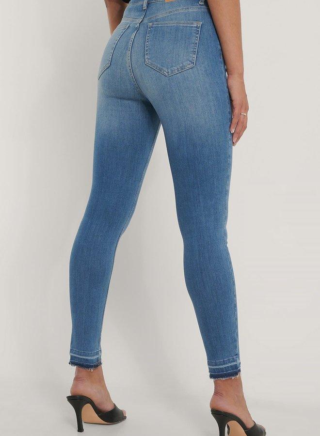 Skinny High Waist Open Hem Jeans