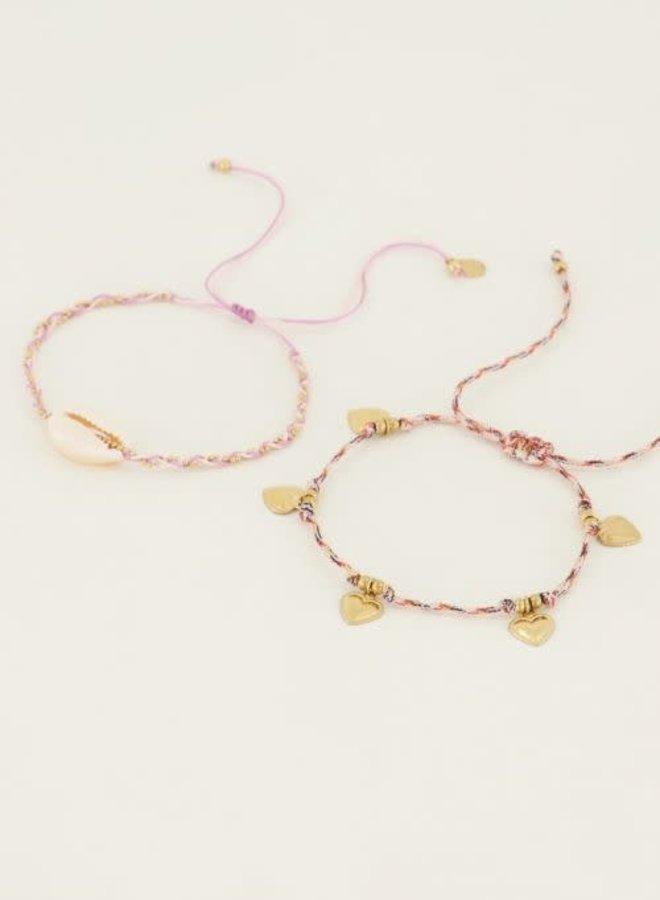 Armbanden set schelp & hartjes