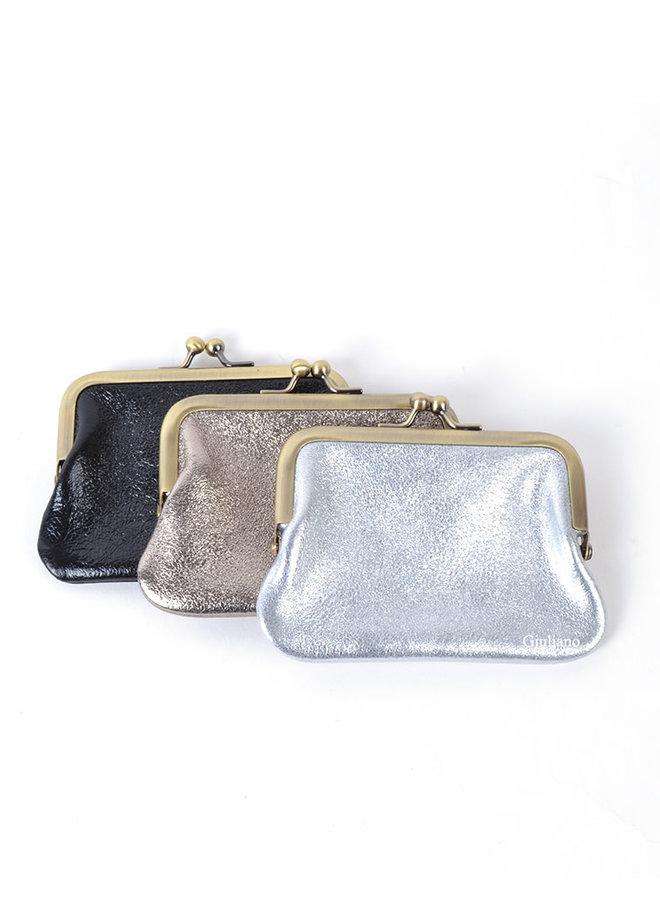 Lederen knip portemonnee - metallic