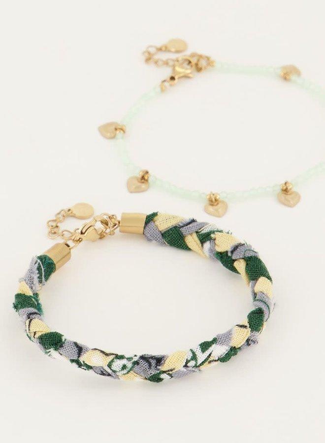 Mintgroene gevlochten armbanden set