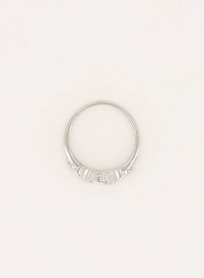Vintage Ring vijf kristal steentjes