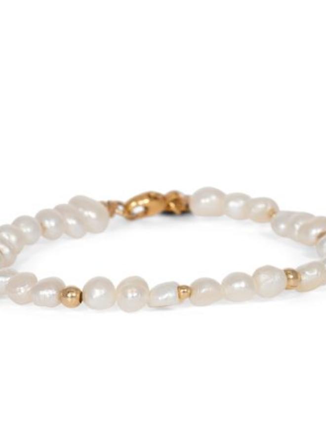 Armband goud flat pearl