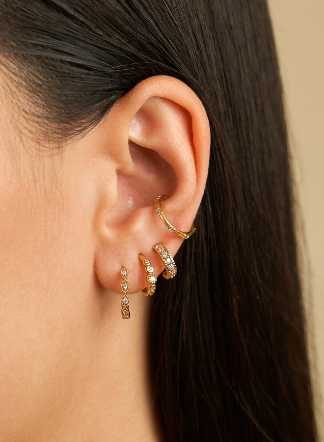 Five stoned white zirconia hoops Gold plated sterling silver