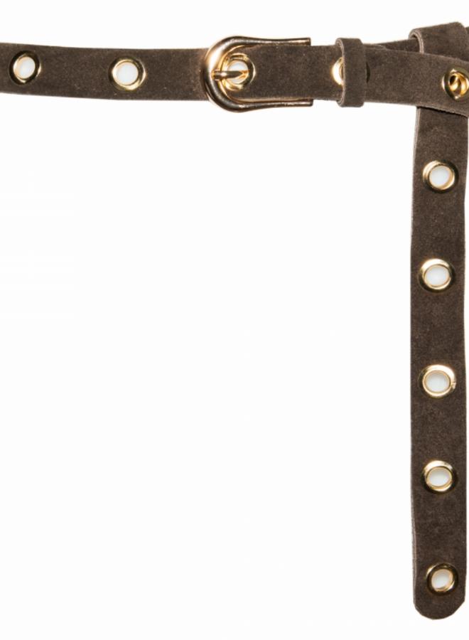Suede Leather Belt 2.5 cm - Dark Brown