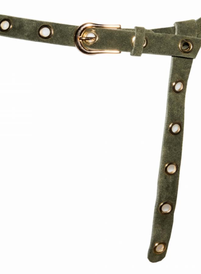 Suede Leather Belt 2.5 cm - Khaki