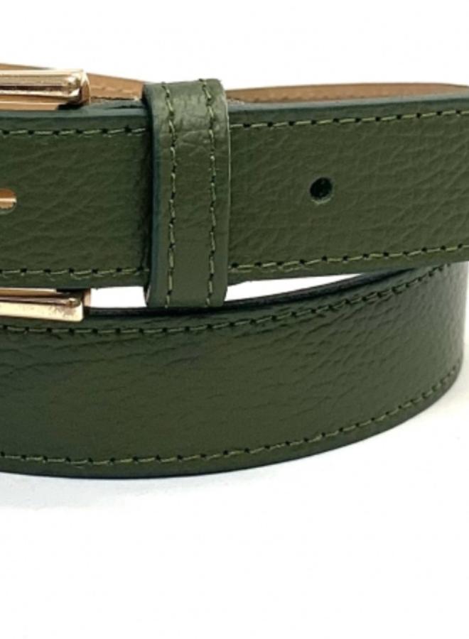 Leather Belt 3 cm - Khaki