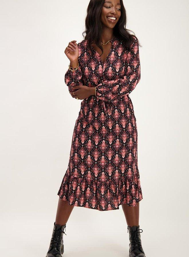 Midi jurk met boho print