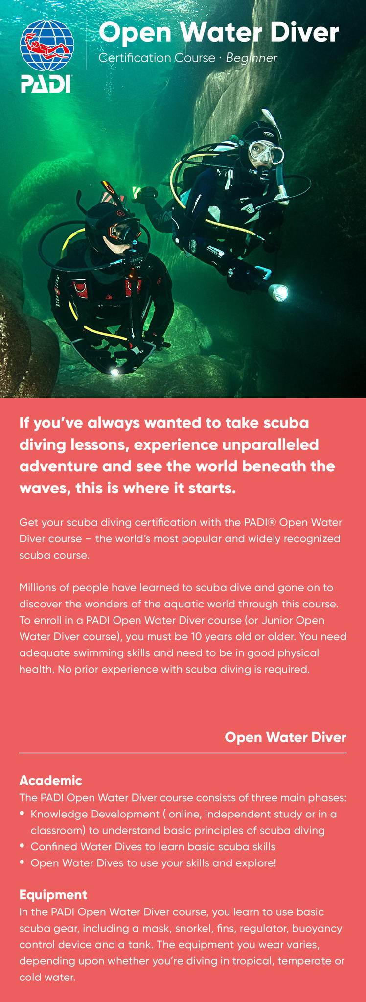 PADI Open Water Diver information