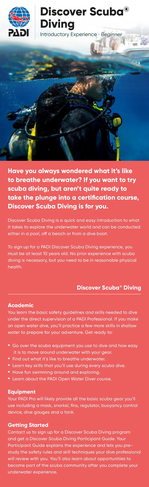 PADI Discover Scuba Information