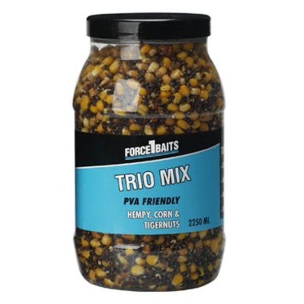 FORCE 1 BAITS BAITS SEEDS TRIO MIX HEMPY - CORN & TIGERNUTS 2250 ML
