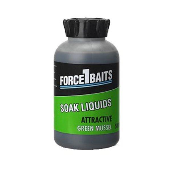 FORCE 1 BAITS ATTRACTIVE LIQUID GREEN MUSSEL 500 ML