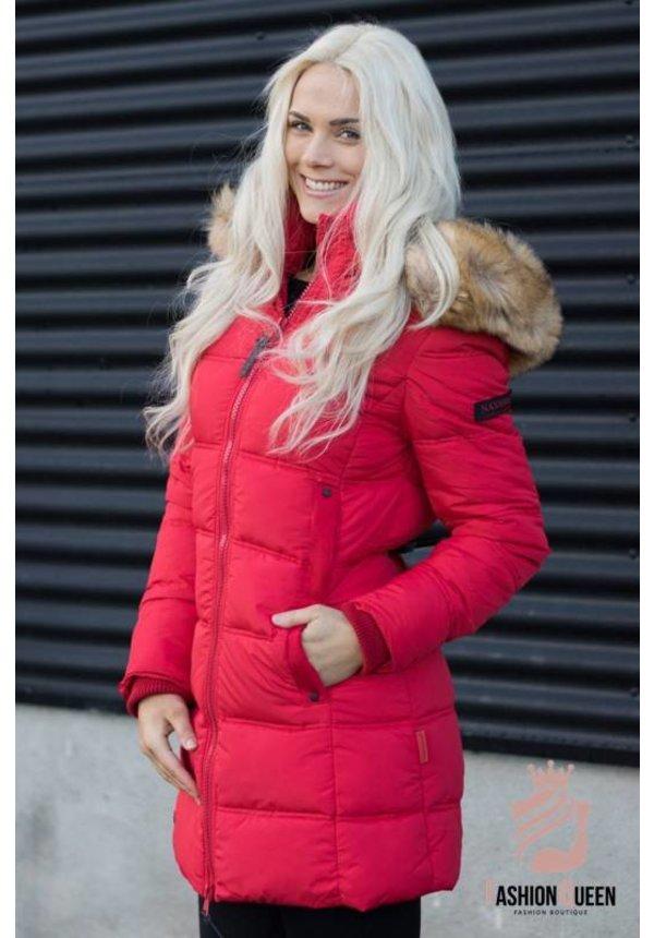 Navahoo Damen Winterjacke gesteppt mit Pelzkragen rot