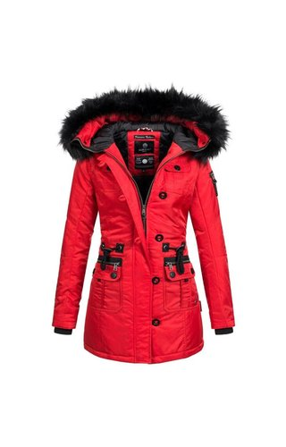 7286b3e238637e Marikoo Marikoo Warm Dames winter Jas Winterjas rood