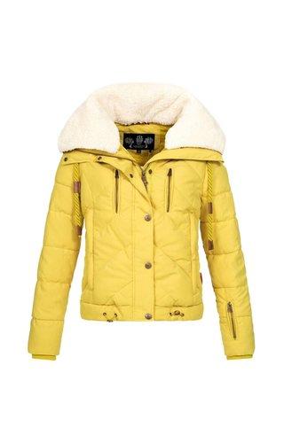 Marikoo Navahoo dames winterjas kort met trendy koordjes geel