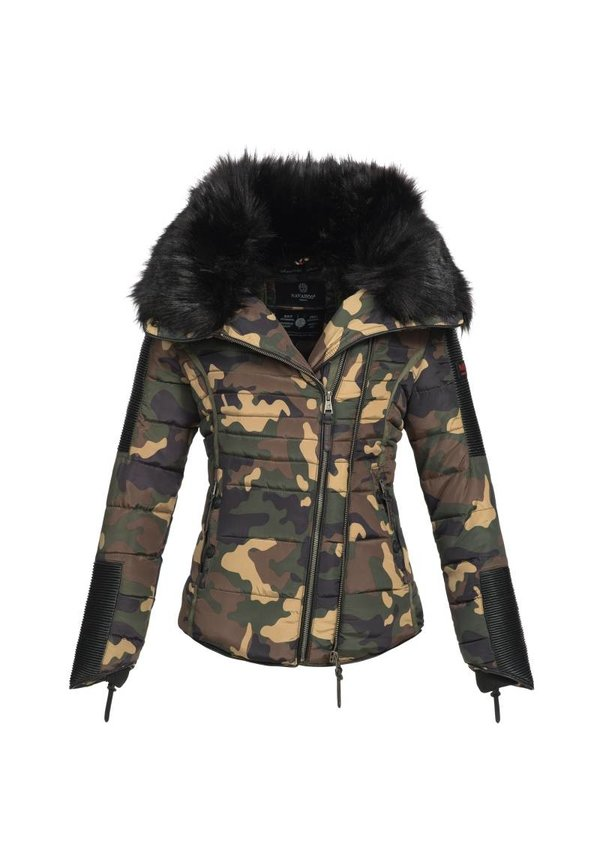 Navahoo stilvoll kurze Damen Winterjacke camouflage