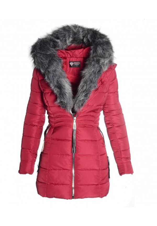 Trendy Damen Winterjacke gesteppt völlstandig gefüttert bordeaux