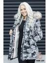 Marikoo Damen gesteppte Winterjacke gefüttert camouflage grau