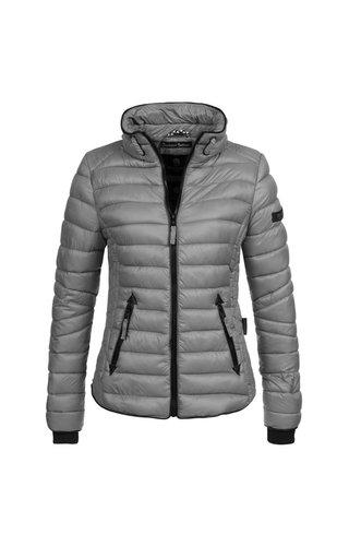 Navahoo Navahoo gewatteerde dames jas met hoge kraag grijs