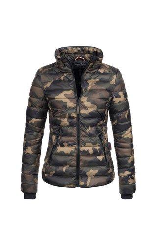 Navahoo Navahoo gewatteerde dames jas met hoge kraag camouflage