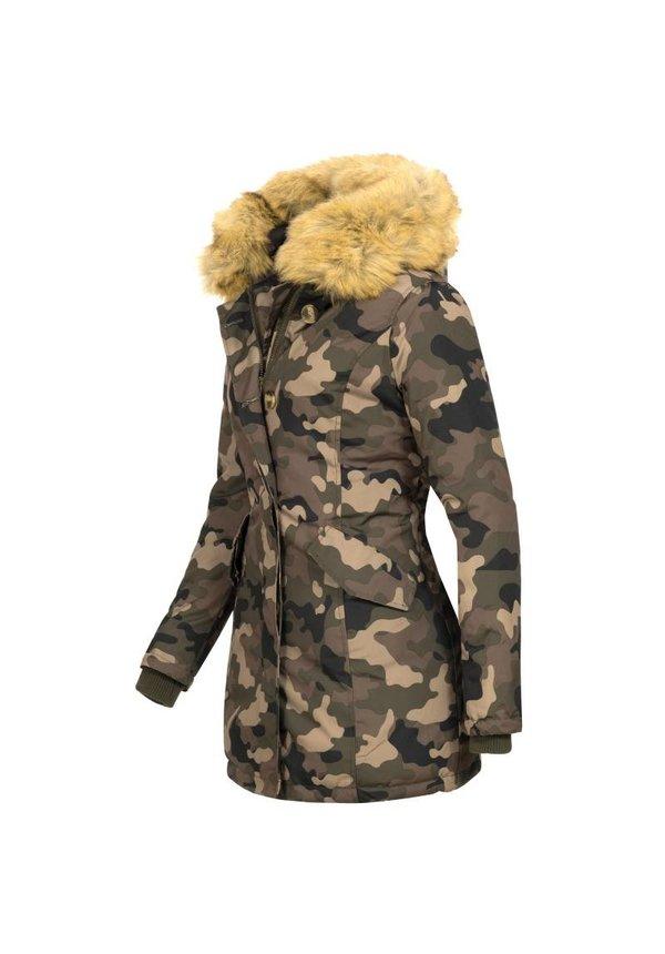 Marikoo Parka Damenjacke Pelzkragen camouflage