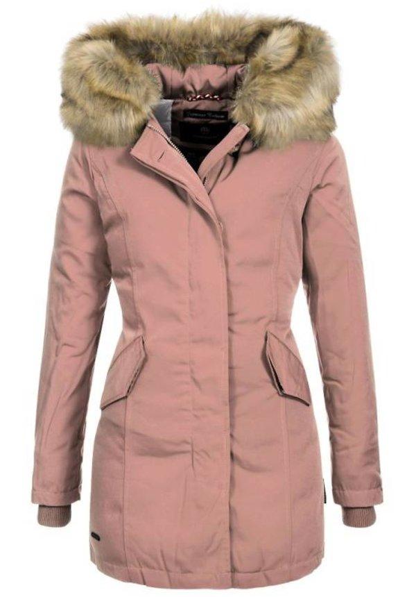 Marikoo Parka Winterjacke Damenjacke Pelzkragen rosa