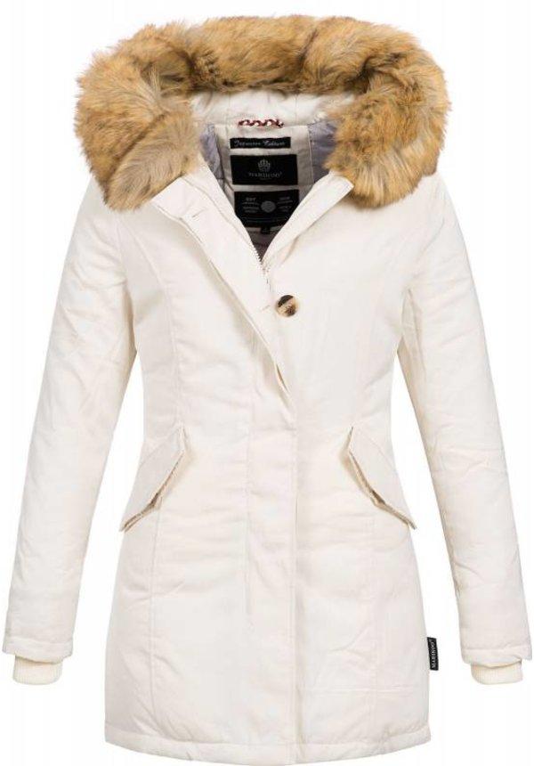 Marikoo Parka Winterjacke Damenjacke Pelzkragen weiß