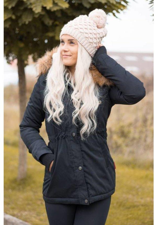 Navahoo Damen Winterjacke mit Doppelverschluss schwarz