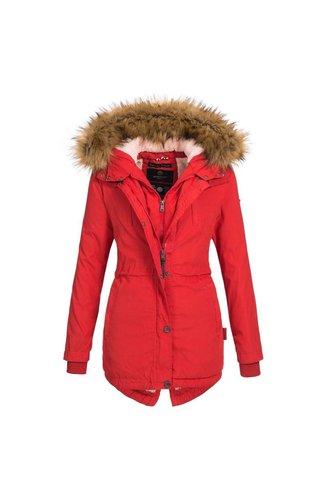 51c8c4456586b8 Navahoo Navahoo dames winterjas met 2-voudige sluiting rood