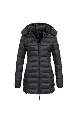 Marikoo Marikoo dames gewatteerde jas met capuchon ocean zwart