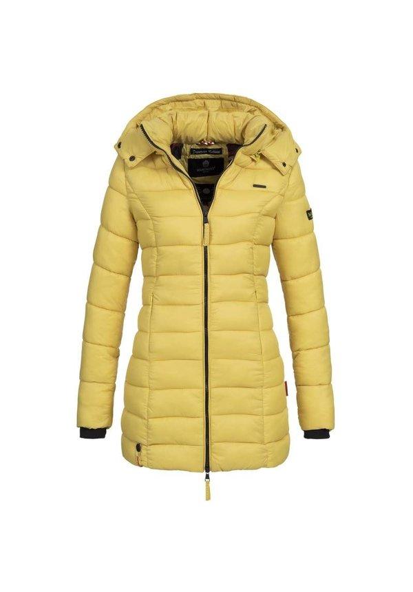 Marikoo Damen gesteppte Jacke mit kapuze gelb
