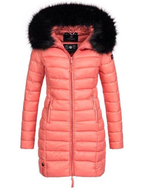 Marikoo Marikoo gesteppte Damen Winterjacke mit Pelzkragen Koralle ... 088c5d23e1