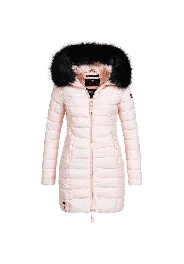 Marikoo gesteppte Damen Winterjacke mit Pelzkragen rosa