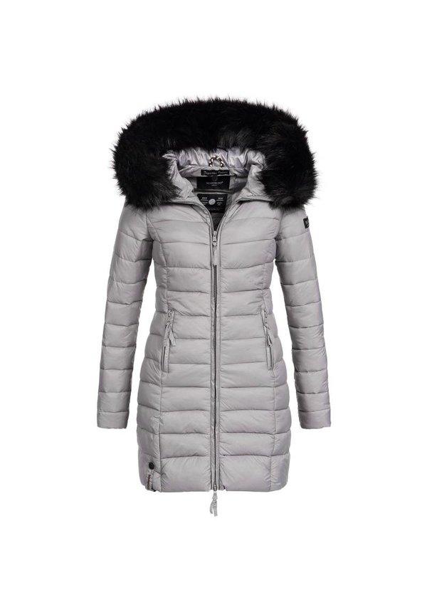 Marikoo gesteppte Damen Winterjacke mit Pelzkragen grau