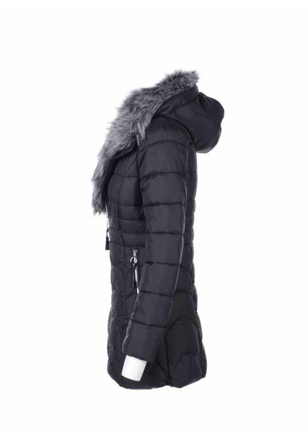 Modegram gesteppte Parka mit Pelz schwarz