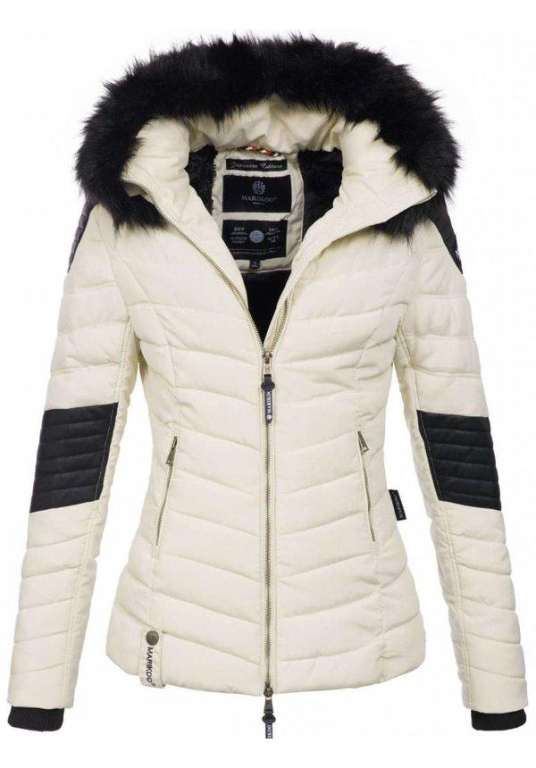 Marikoo Winterjackle mit Leder einzelheiten weiß