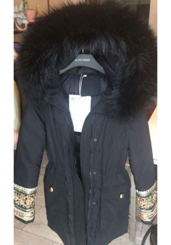 Modegram Damen Parka mit Pailetten schwarz