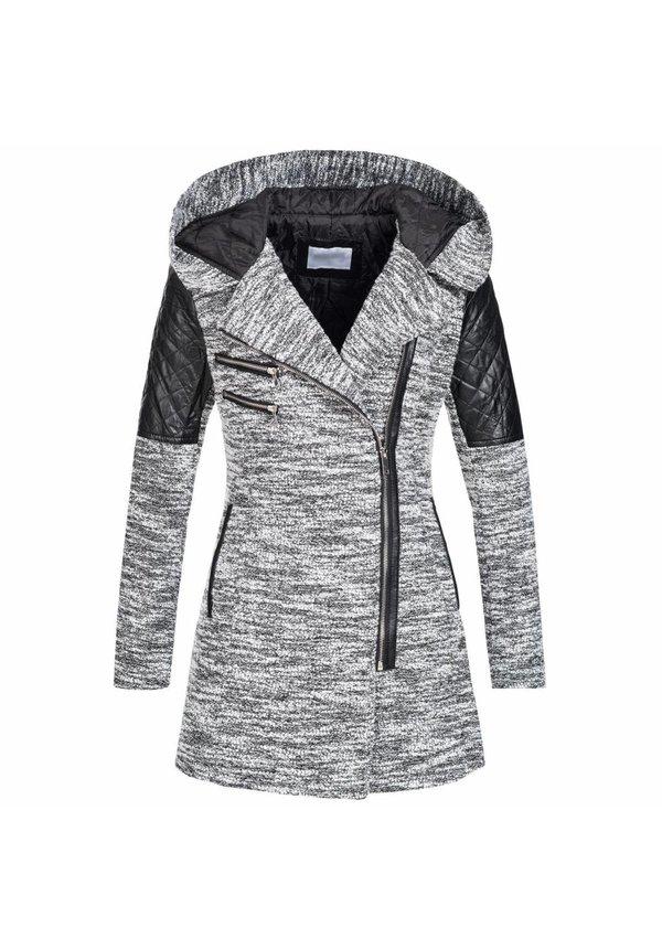 Modegram Mantel mit Leder einzelheiten hellgrau