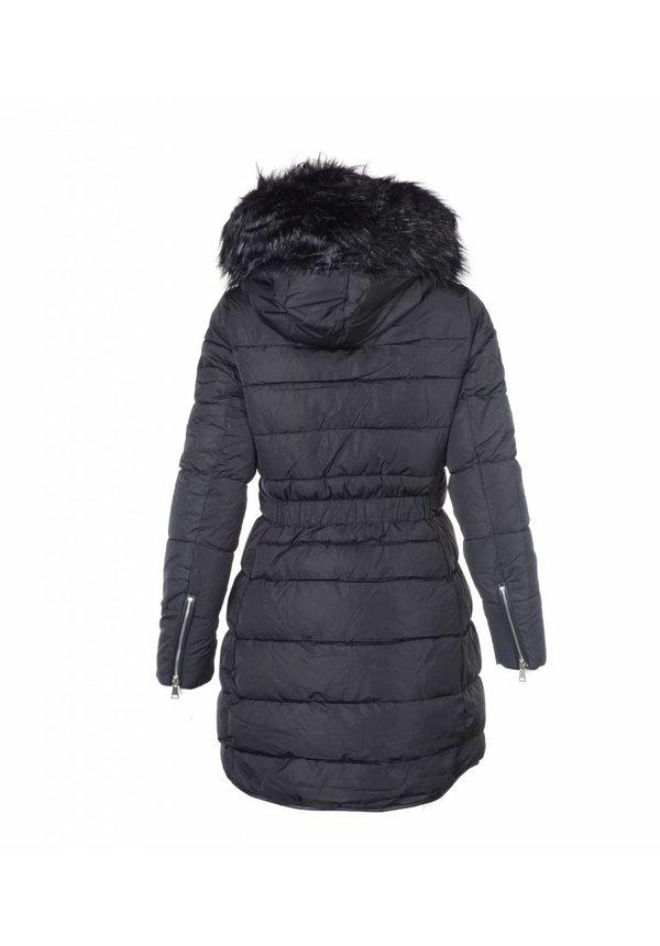Modegram gesteppte Damenjacke mit schwarzem Pelz