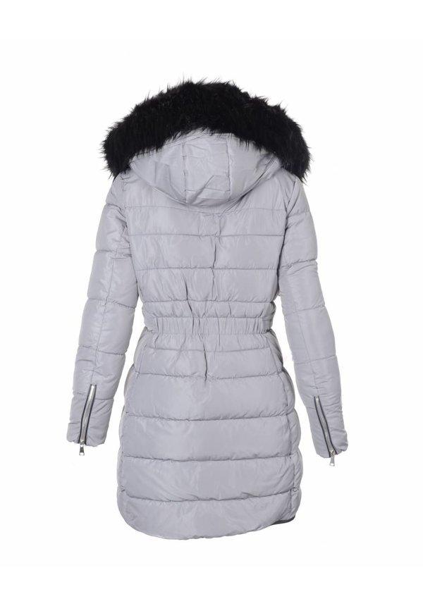 Modegram gesteppte Damenjacke mit Pelz grau